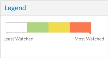 Legend indicates how to read a heatmap, with lighter colors representing fewer viewers and darker colors more views