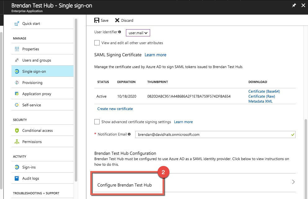 Steps to acquire Endpoint URLs from Azure to give to Vidyard