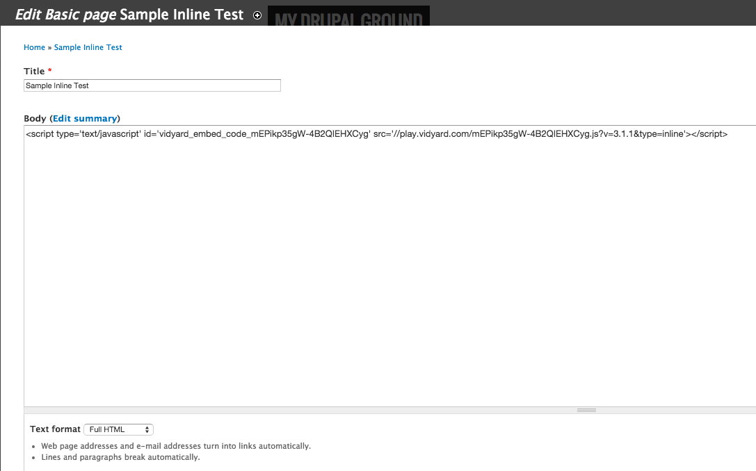 Drupal new page editor with Javascript embed code pasted in the Body field. Full HTML is selected.