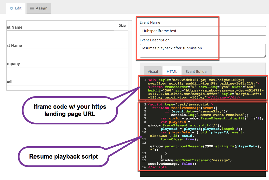 Create a HubSpot form that resumes playback after submission