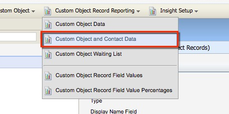Custom Object Contact Data button in the Custom Object Record Reporting menu.