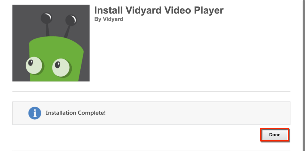 A message displays that says Installation complete! The Done button is on the bottom right corner.