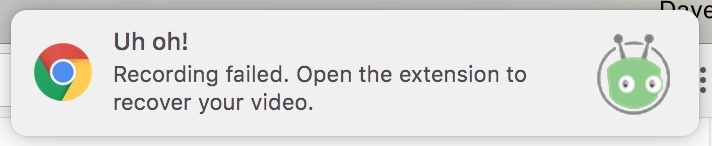 Vidyard Chrome notification, indicating your network connect may not be working. Reconnect, then open extension to recover video.