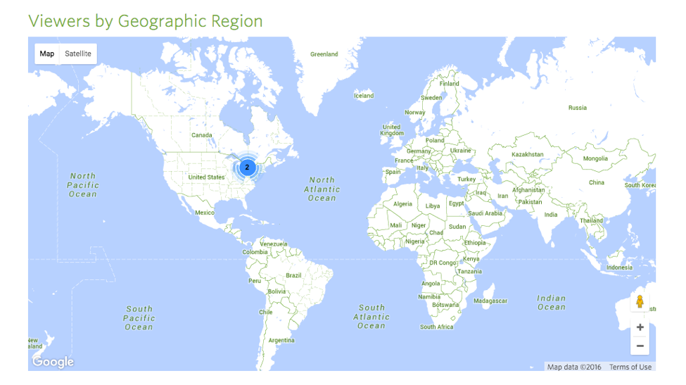 Viewers by geopgraphy chart showing two viewers in North America, represented by a blue dot.