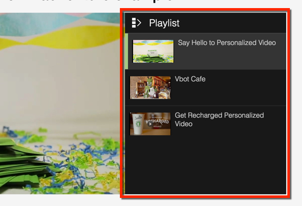 A view of the playlist open to the right of a Vidyard player.