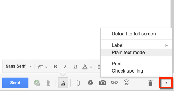 The Plain Text Mode menu option in a Gmail message is not checked.