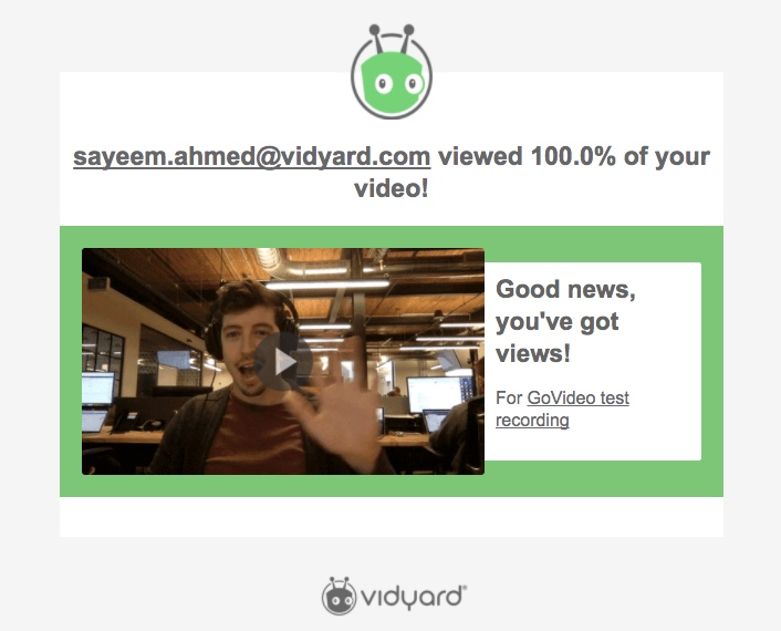 An email from GoVideo saying that Sayeem watched 100% of the video!