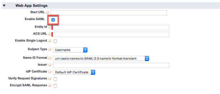 The Enable SAML checkbox is checked.