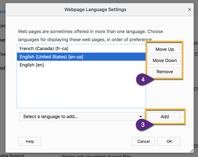 Adding language to Firefox and setting its priority