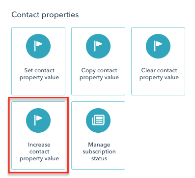 Select Increase contact property value