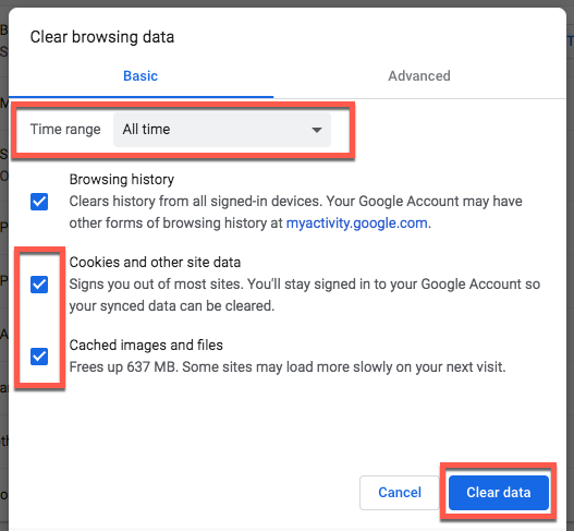 clearing cookies and cached browser data from Chrome