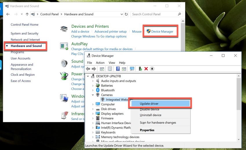 Updating a camera driver in Windows Device Manager tool