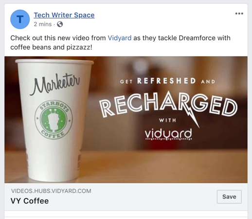 How a shared video appears as a hyperlinked card on Facebook