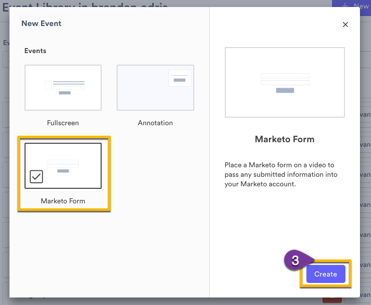 Event Type menu with option to select Marketo Form