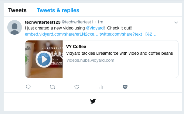 Vidyard players appear on a Twitter card with a play button, allowing for native inline playback
