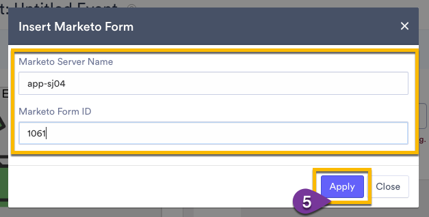 Popup window requiring Marketo Server Name and Marketo Form ID fields