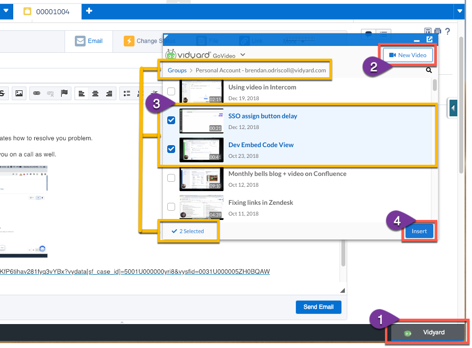 Using GoVideo to build a playlist and insert video into a Salesforce case email