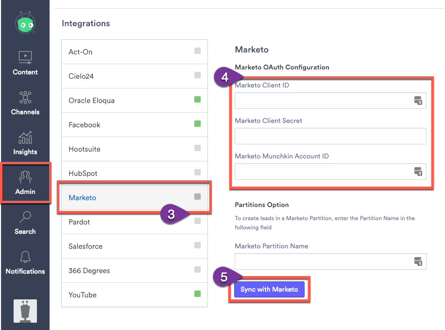 Connecting Vidyard and Marketo within the integrations menu in Vidyard