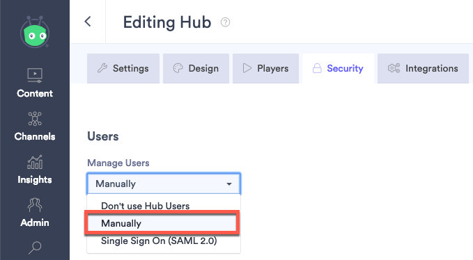 Choosing to manage hub users manually from the Hubs security settings