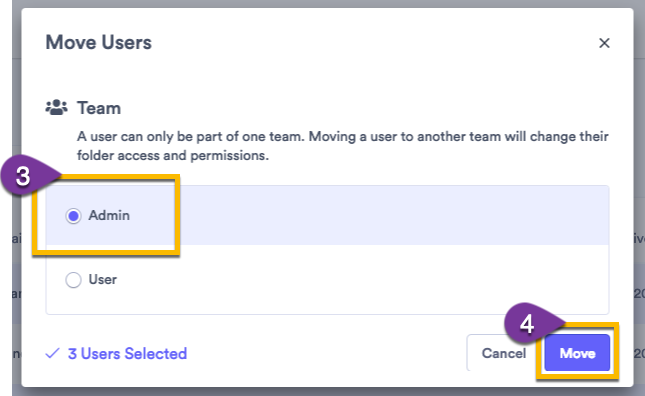 Selecting a team for users to move to, then confirming