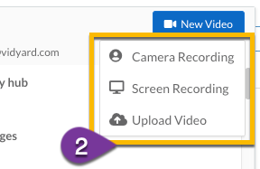 Options to create or upload a new video