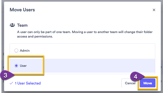 Selecting a team for a user to move to, then confirming