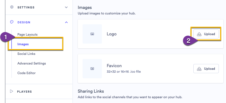 Adding branded images to your hub, a favicon and a logo