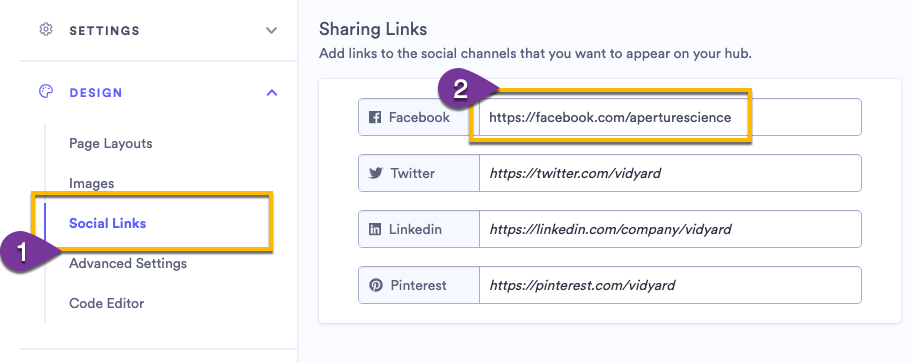 Adding links to your social media channels