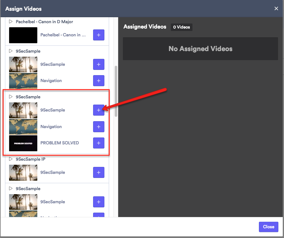 Click Add video and select the video
