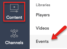 Click Content - Events from the menu