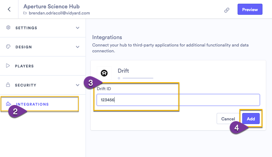 Adding the Drift ID to a hub or sharing page integration settings