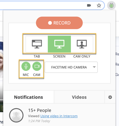 Recording options, including camera only, screen recording, and tab recording