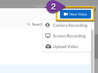 Using the New Video dropdown menu to create a new recording in the Vidyard app