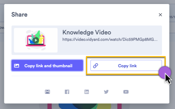 Selecting the Copy Link option from the Share menu