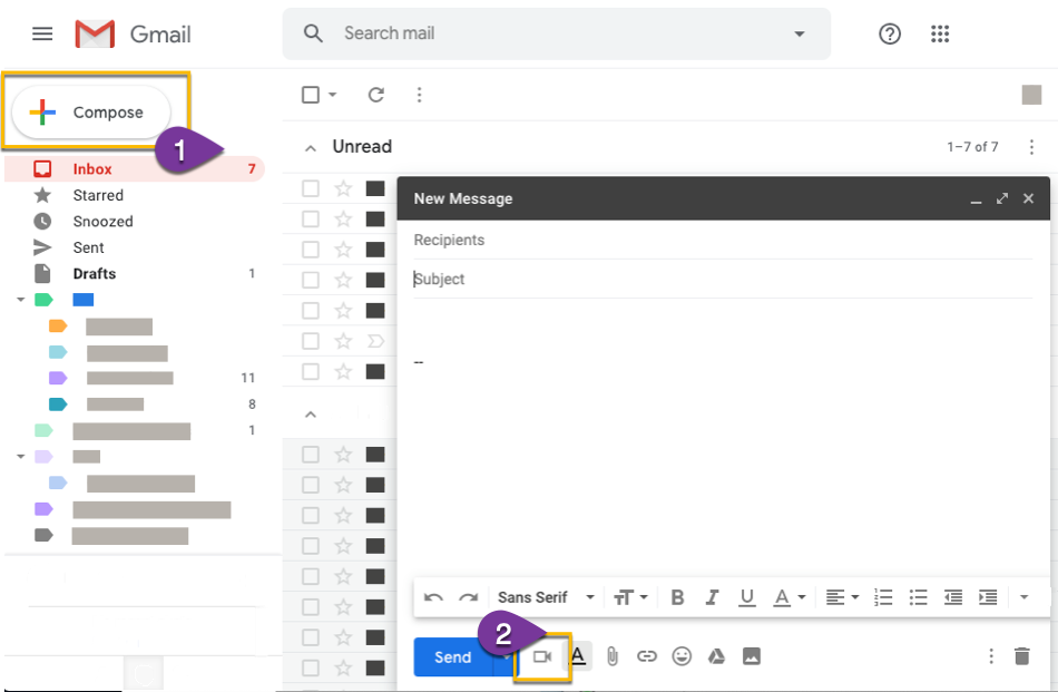 Opening the Vidyard app in a new gmail compose window