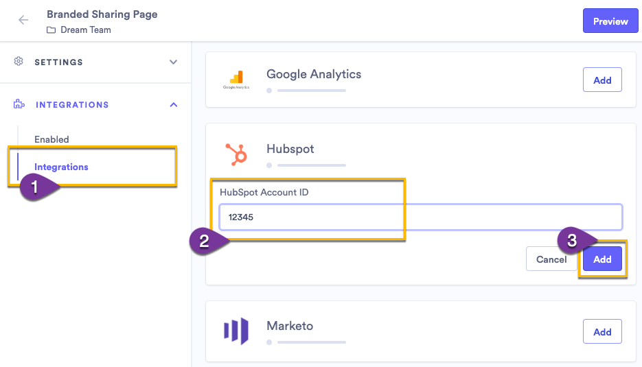 Entering the Account ID to enable HubSpot tracking on a sharing page