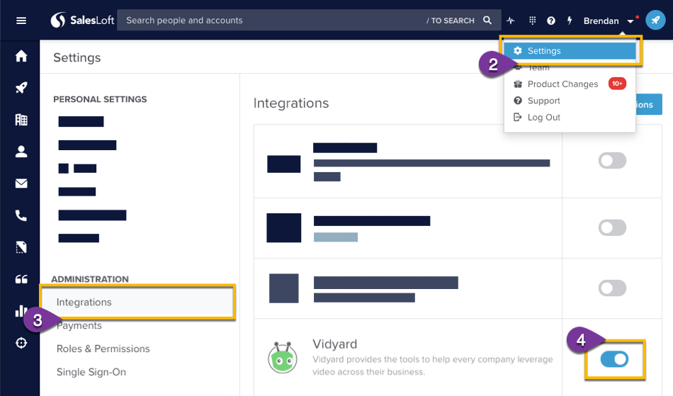Enabling the Vidyard in the SalesLoft admin seetings