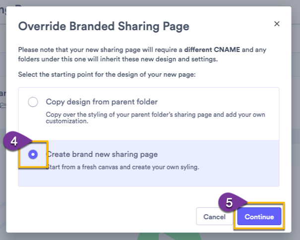 Selecting how you want to create a new sharing page: copy settings from the parent or start from a default sharing page