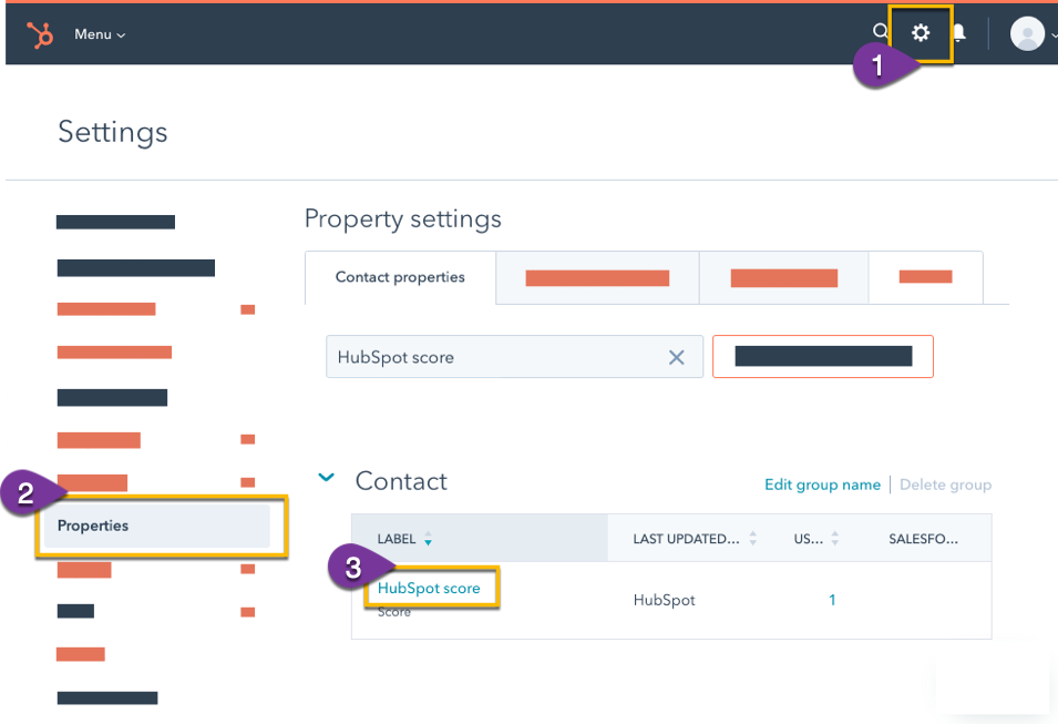 Opening your HubSpot Score properties in the settings menu