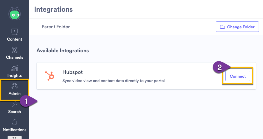 Connecting to HubSpot on the integrations page in Vidyard