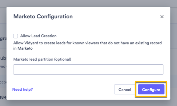 Additional configuration settings for the Marketo integration