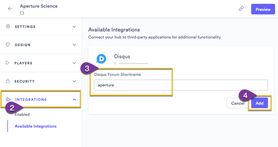 Adding a Disqus shortname to your hub to enable the integration