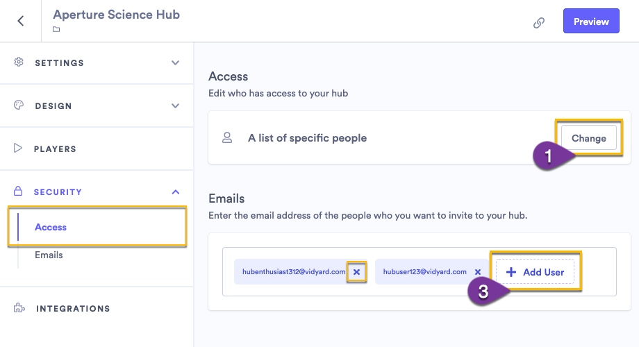 Adding a list of users' email addresses to invite them to access your hub