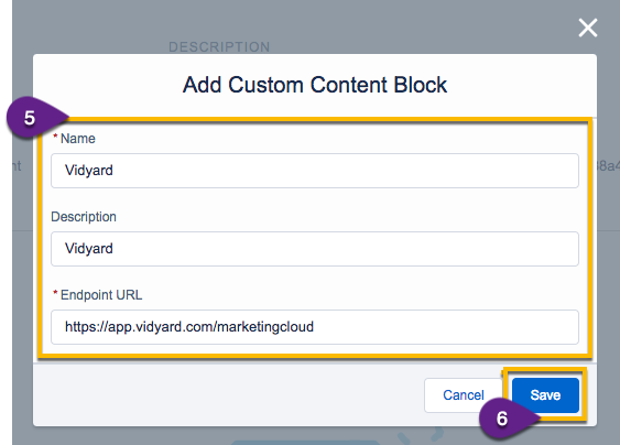 Adding a new app package as a custom content block; indicates place to provide name and description, as well as an endpoint URL.