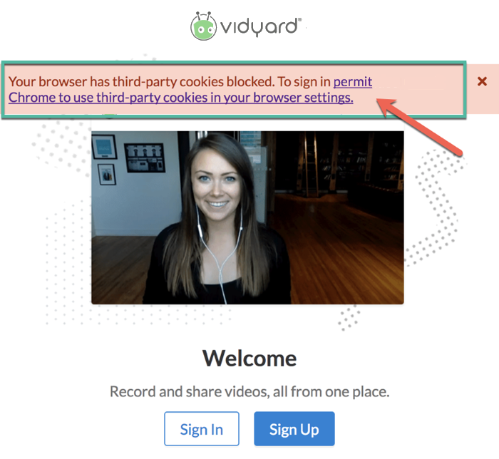 Banner appears on Vidyard sign in to indicating that third-party cookies must be permitted to continue