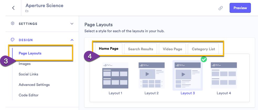 Selecing the layout for your hub pages