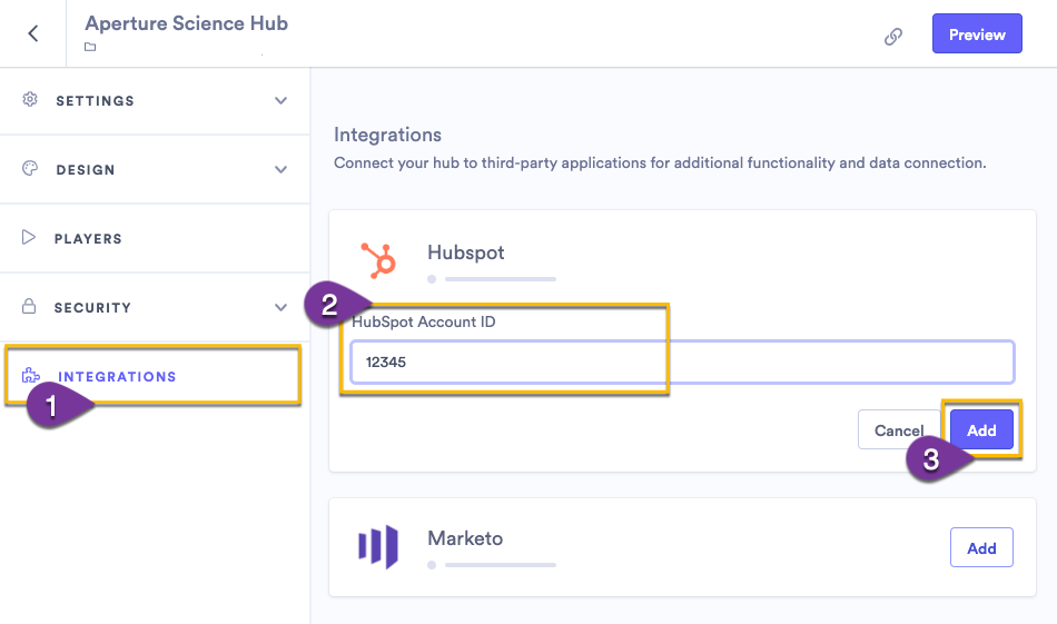 Adding the tracking code or account ID from your marketing automation platform to the integrations settings for a hub