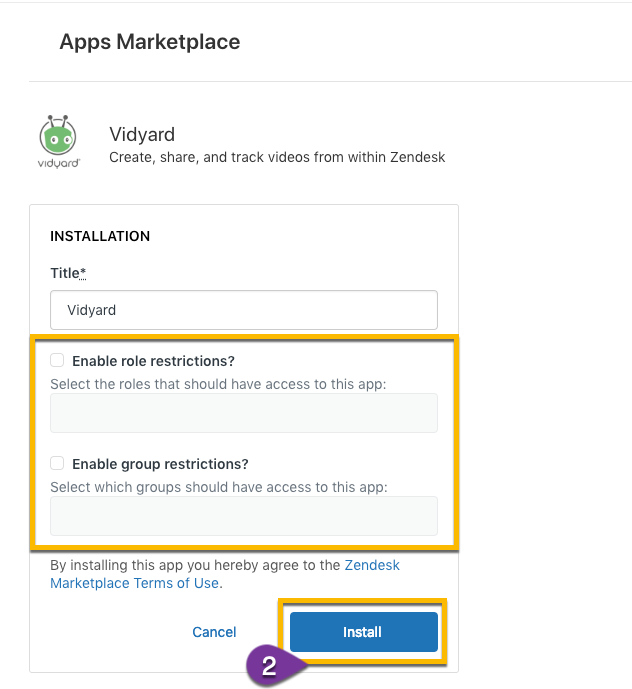 Installing the Vidyard app in the Zendesk Marketplace