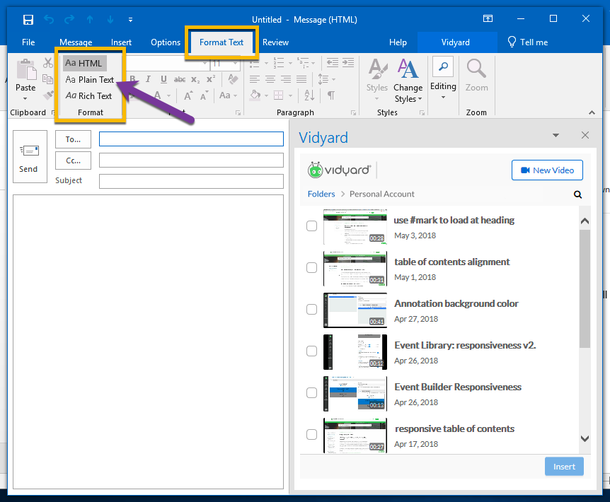 Outlook compose window text format options, including HTML, Plain text, and Rich Text