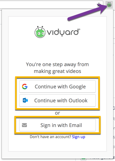 Signing in to the Vidyard Chrome extension